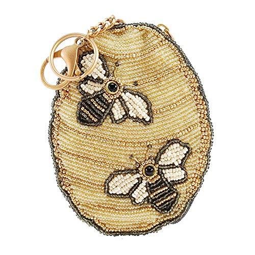 MARY FRANCES Oh Honey Beaded Honey Bee Hive Key Fob-Coin Purse