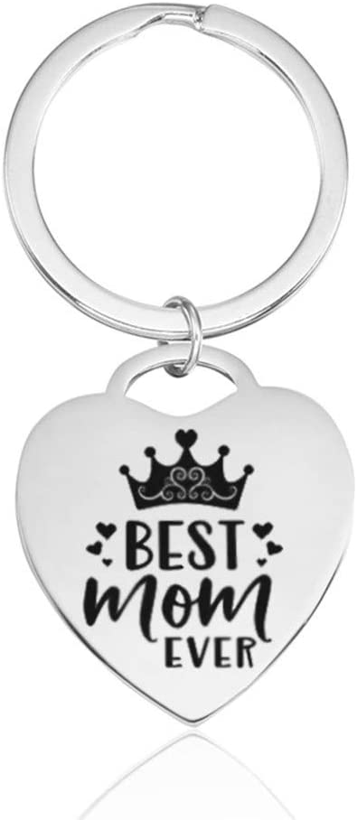 Best Mom Ever Keychain for Mother Stainless Steel Heart Key Tag Ring Christmas Mothers Day Gifts