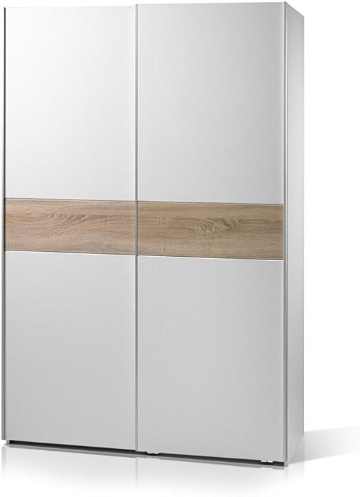 vanta 1 armario de puertas correderas 125 cm ancho, weiß/weiß Bauchbinde Sonoma: Amazon.es: Hogar