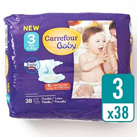 Carrefour bebé Ultra seco tamaño 3 Pañales Carry Pack 38 Pañales ...