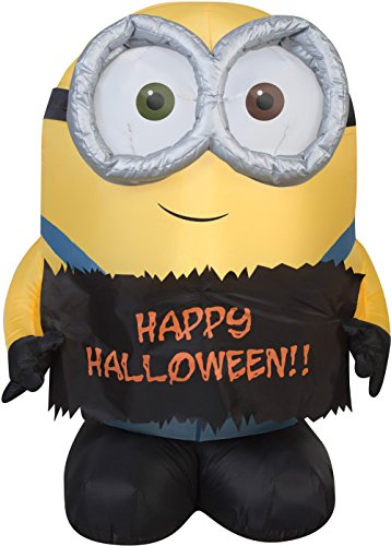Gemmy Airblown Inflatable Bob The Minion Holding Happy Halloween Sign - Indoor Outdoor Holiday Decoration, 3-Foot Tall