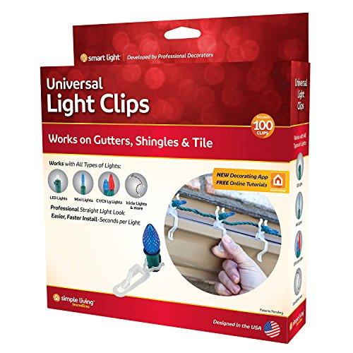 1 Light Outdoor Hanger (Simple Living Solutions 712100 Universal Light Hanger Clips, White)