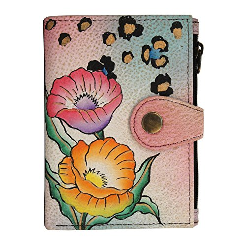 Anna by Anuschka Handpainted Leather Ladies Wallet, Animal Floral, One Size