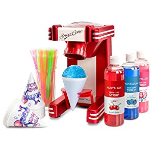 Nostalgia RSM702BUN Retro Series Single Maker with Snow Cone Syrup Party Kit, One Size, Red