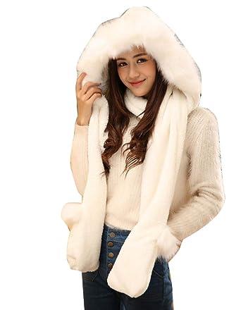 6489c0af23941 Ensemble Bonnet Echarpe Gant Femme 3 en 1 Hiver Chaud Blanc: Amazon ...