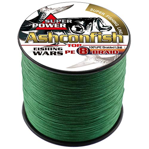 Ashconfish Braided Fishing Line-8 Strands Super Strong Fishing Wire 100M/109Yards 40LB-Abrasion Resistant-Incredible Superline-Zero Stretch-Superfine Diameter Ice Fishing Tip Up - Moss Green