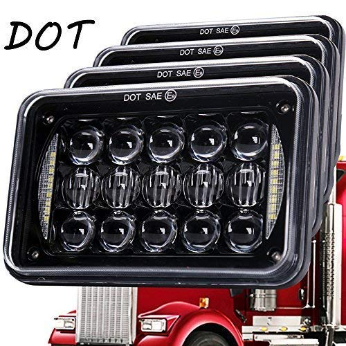 Newest Lens 60W 4x6 Inch LED Headlights with DRL for H4651 H4652 H4656 H4666 H6545 Freightliner Kenworth Peterbilt International Volvo Sterling Western Star Mack(Black 4Pcs) (Star Accessories Western Truck)