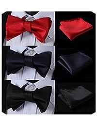HISDERN 3pcs Classic Men's Self-Tie Bow tie & Pocket Square - Multiple Sets
