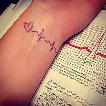 oofayzbl Heartbeat electrocardiograma tatuaje pegatinas tatuajes ...