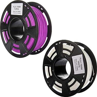 1.75mm 3D PLA Filament Bundle, 2 Spools Pack, White and Purple, 1 kg Spool, Dimensional Accuracy +/- 0.03 mm