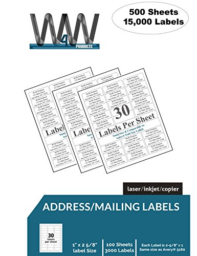 """FIVE PACK [500 Sheets - 15,000 Labels] 30-up FBA, Name and Address Mailing Labels - 30 Labels per sheet, 2-5/8"""" inch x 1"""" inch White Labels Comparable to Avery 5160 size label stickers"""