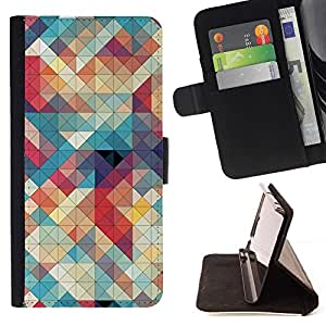 For Samsung Galaxy Note 4 IV Quilted Teal Plaid Red White Beautiful Print Wallet Leather Case Cover With Credit Card Slots And Stand Function