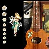 Ukulele-Fretboard Markers & Hula Girl Inlay Sticker - Hula Girl SET