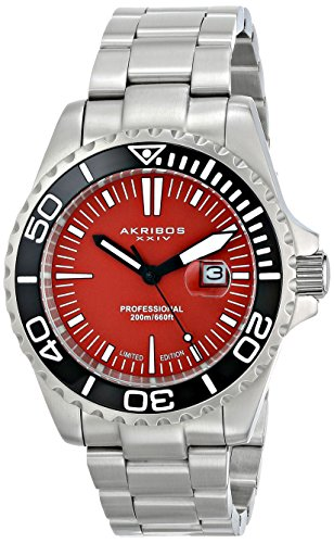 Akribos XXIV Men's AK735OR Quartz Movement Watch with Orange Glossy Dial and Stainless Steel Bracelet
