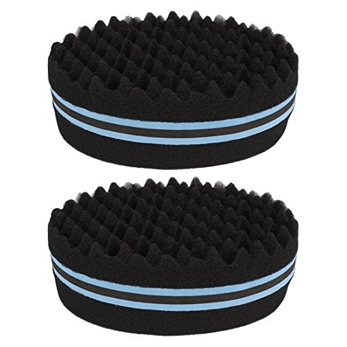 Andux Land Doble lado giro pelo afro trenza estilo dreadlock esponja rizos esponja 2 PCS JFHM-01 (azul)