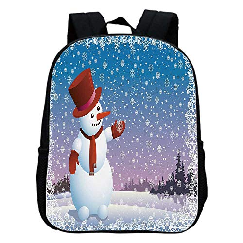 Snowman Fashion Kindergarten Shoulder Bag,Cartoon Happy Snowman Looking at the Snowflake Icy Winter Scenery Evergreen Woods Decorative For Hiking,One_Size