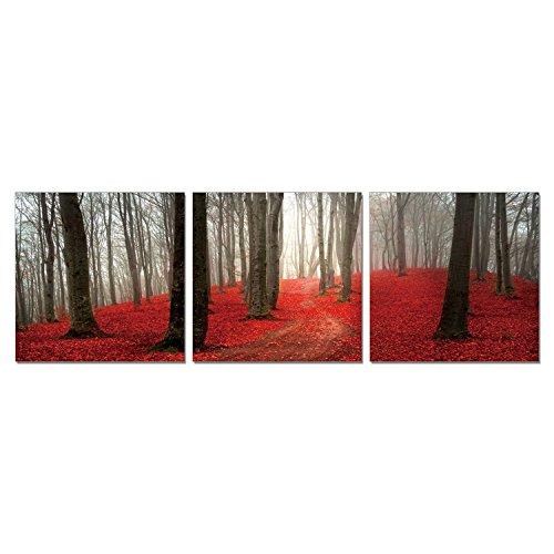 FURINNO Senic Dawn Forest Set 3 Panel Canvas on Wood Frame, 60