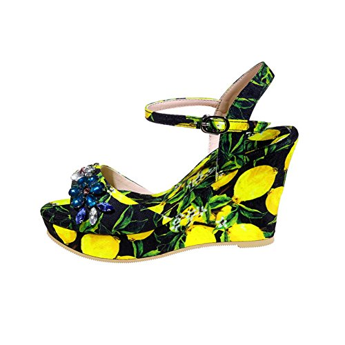 AN Womens Sandals Cushioning Peep-Toe Urethane Sandals DIU00740 Yellow 4WNpa3XpTk