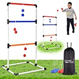 Ladder Toss Ball Game Set – Fun Game for Yard, Lawn, Backyard, Party, Indoor, Outdoor – 6 Toss Bolos with Thick Rope – Built-in Score Tracker – With Backpack Bag – Easy Seag – Easy Setup – 2-4 Player