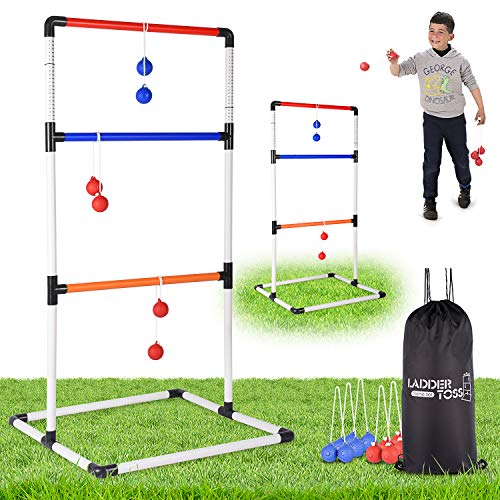 - Ladder Toss Ball Game Set - Fun Game for Yard, Lawn, Backyard, Party, Indoor, Outdoor - 6 Toss Bolos with Thick Rope - Built-in Score Tracker - With Backpack Bag - Easy Seag - Easy Setup - 2-4 Player
