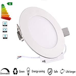 XUNATA Dimmable 18W 8 inch Ultra-Thin Round LED Panel Light Ceiling, 1600lm, 140W Incandescent Equivalent, 6500K Daylight White, LED Recessed Lighting for Home, Office, Commercial Lighting