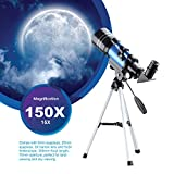 Aomekie Telescope for Kids Adults and Astronomy Beginners 70mm Refractor Telescope with Tripod Phone Adapter Finderscope Barlow Lens