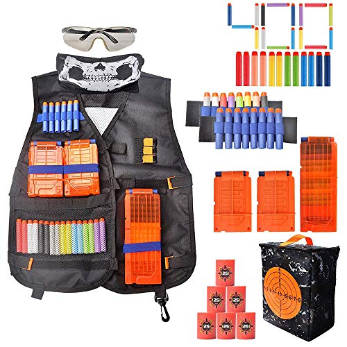 Tactical Vest Kit for Kids with 400 Refill Darts for Nerf Guns N-Strike Elite Series 3 Reload Clips Goggles Mask Wrist Band EVA Bullet Target Packed in Target Pouch