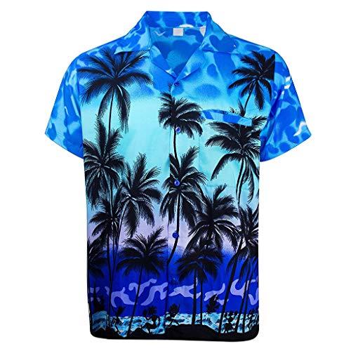 Men's Hawaiian Shirts, JOYFEEL Fashion Coconut Tree Printed Blouse Short Sleeve Button Down Beach Tops ()