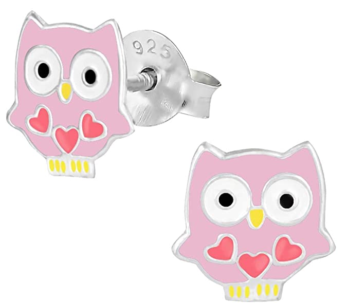 Hypoallergenic Sterling Silver Owl with Hearts Stud Earrings for Kids (Nickel Free)