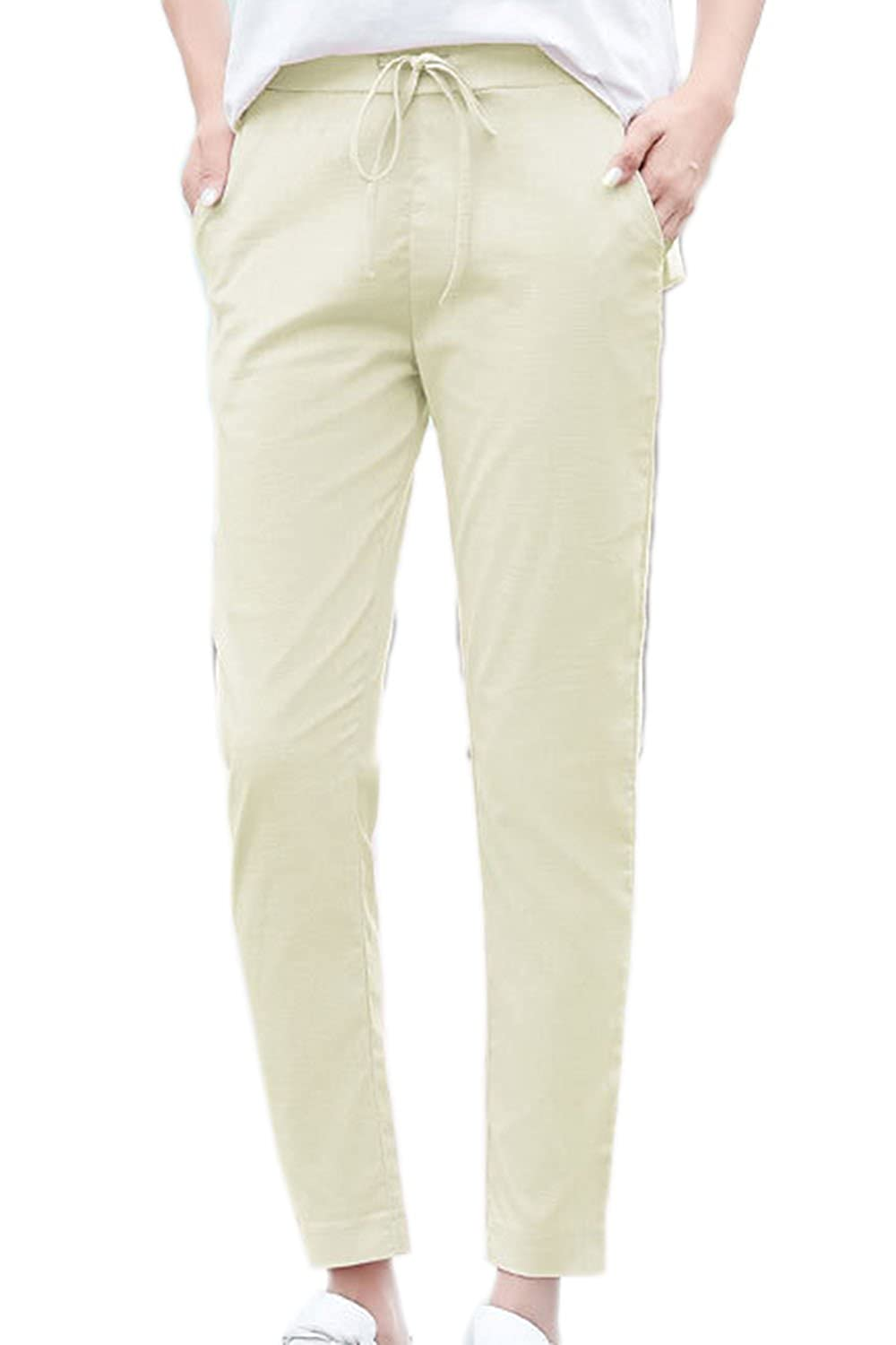 Womens Casual Linen Cotton Ankle Pants Plus Size Straight Ankle Trousers CAPLMM504