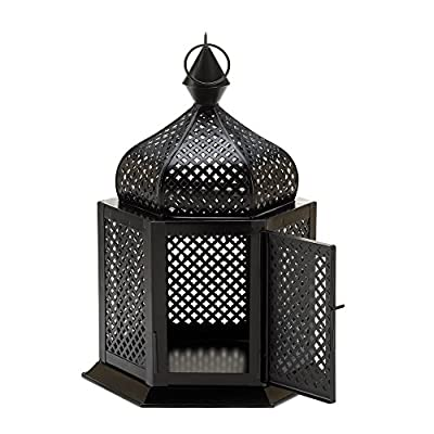 Tabletop Lantern Moroccan Hanging Candle Holder Iron Black Ornament Guard Display Home Lighting Decor
