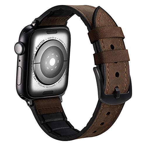 Karei Hybrid Rubber Leather Sports Band Compatible with Apple Watch Bands Sweat Proof Silicone Vintage Replacement Straps iwatch Series 4 44mm,Series 1 2 3 42mm (Retro Coffee, 44mm/42mm)