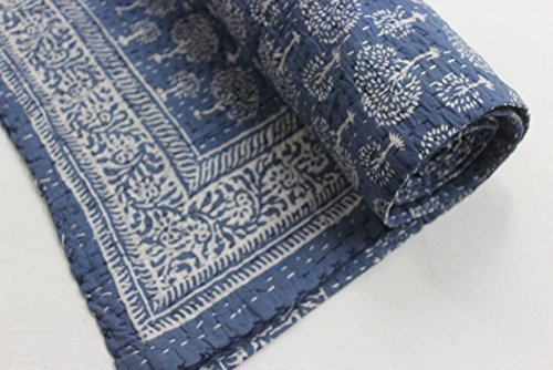 Handicraftofpinkcity Block Print Kantha Throw Indian Quilt Queen Boho Bedding Reversible Blanket (Cotton Quilt Block)