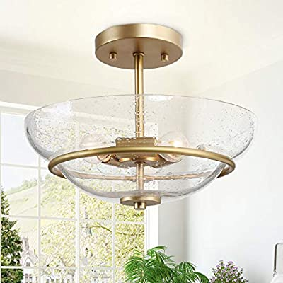 """KSANA 3-Light Semi-Flush Mount Lighting, Mid-Century Brass Ceiling Light, Close to Ceiling Light Fixture with Clear Seedy Glass for Hallway, Dining Room, 12"""" W"""