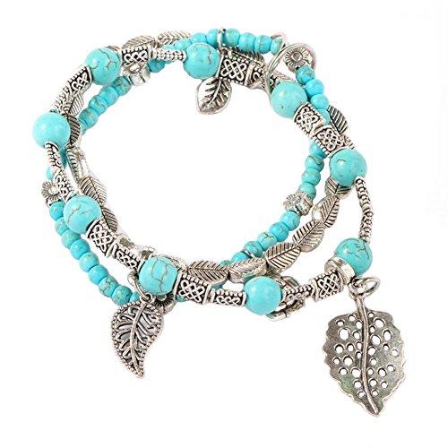 Turquoise Leaf Bracelet - YinMai Bohemian Turquoise Beaded Bracelet Leaves and Flower Beach Stretch Bracelet 3 Sets