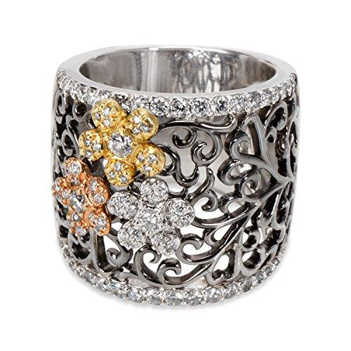 Diamond Tri Colored Flower Ring in 18KT White Gold 0.71 (18kt Diamond Flower)