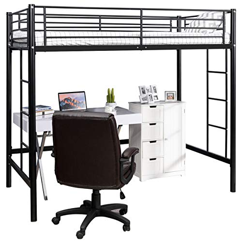 Costzon Loft Twin Bed, Single Bunk Bed with Sturdy Steel Frame, High Sleeper Multipurpose Use Full-Length Guardrails & Two Integrated Ladders Space-Saving Bunkbed with Strong Board Slats (Black)