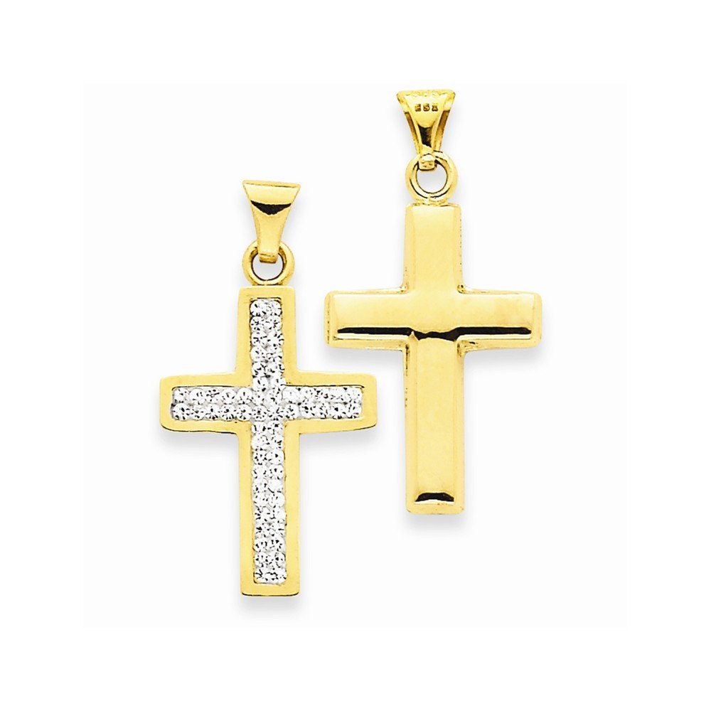 Best Quality Free Gift Box 14k Reversible Crucifix //cross Pendant