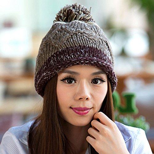 de Rizado Bola Versión Maozi Tejido Largo 1 Knit Sombrero Lana del de 5 la Coreana Natural wE4EY1