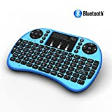 Rii i8+ BT Mini Wireless Bluetooth Backlight Touchpad Keyboard with Mouse for PC/Mac/Android, Blue (RTi8BT-3)