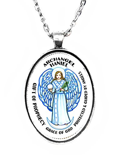 (Archangel Haniel Gift of Prophecy Grace of God Huge 30x40mm Handmade Silver Plated Art Pendant)