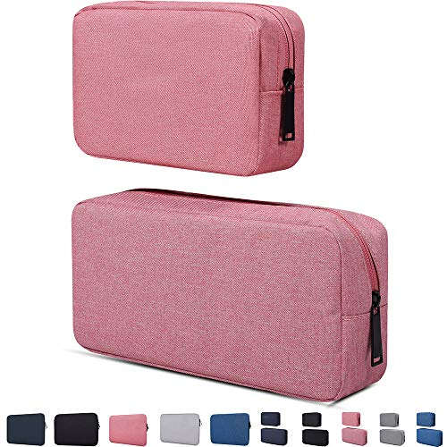 Electronic Accessories Organizer, Durable Small Electronics Accessories Storage Bag Compatible Laptop Charger Various USB,Cables,Cords Power Travel Gadget Carry Bag,Pink(Small+Big)