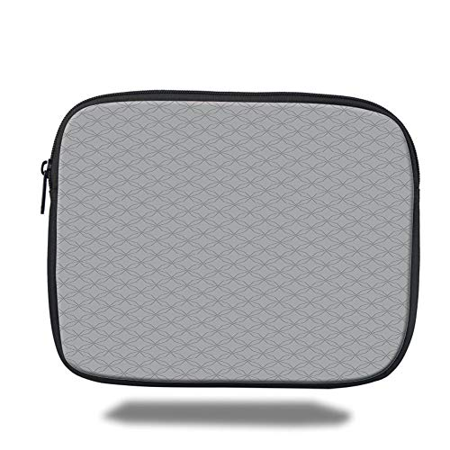 Tablet Bag for Ipad air 2/3/4/mini 9.7 inch,Geometric,Ornamental Shapes with Star Circle Patterns and Straight Lines Eastern Inspirations Decorative,Grey