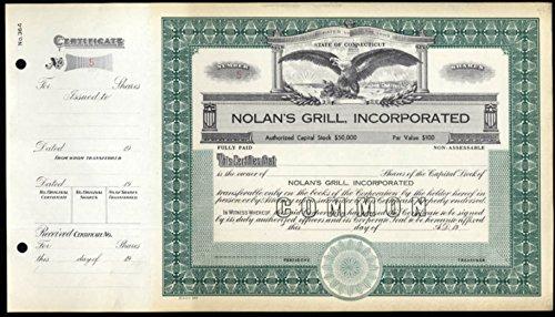Nolan's Grill Restaurant unused unissued stock certificate 1960s Connecticut
