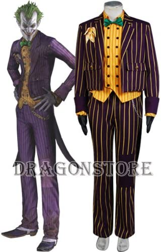 Batman Arkham City The Joker Outfit Cosplay Costume Full Set FREE P/&P