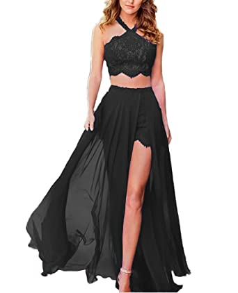 QiJunGe Two Pieces Prom Dresses Sexy High Slit Evening Cocktail Party Gowns Black US 2