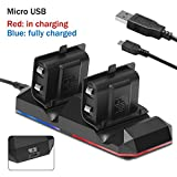 Xbox One Battery Charging Dock Kingtop Dual Charger Station with 2 x1200mAh Rechargeable Batteries and USB Cable For Xbox One One S Newest One X Xbox One Elite Controllers