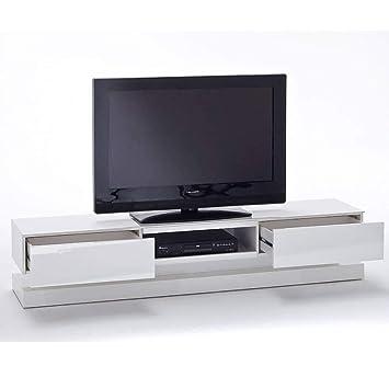 Inside Meuble Tv Design Shiva 2 Tiroirs Laque Blanc Mat
