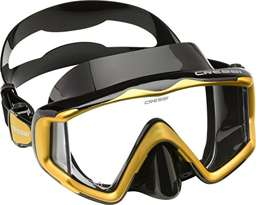 Yellow Small Scuba Equipment - Cressi Liberty Triside Spe Diving Mask, Black/Black/Yellow