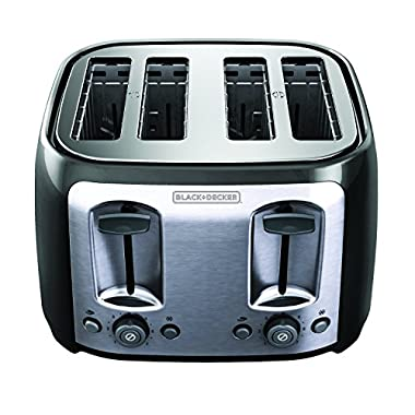 BLACK+DECKER 4-Slice Toaster, Classic Oval, Black with Stainless Steel Accents,  TR1478BD